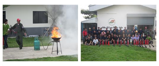 บริษัท พี.ที.เอส. ซีสเต็ม จํากัด : ทีมผู้ปฎิบัติงานผ่านการฝึกอบรมดับเพลิง